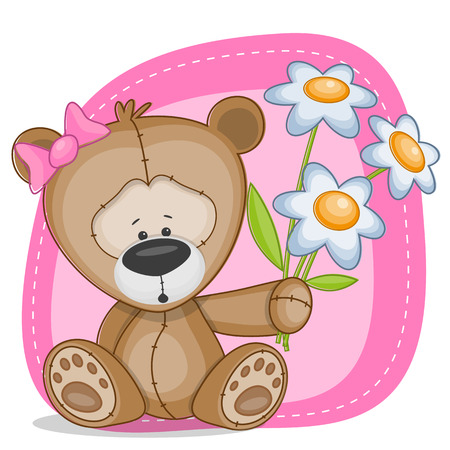 Greeting card Bear with flowers Vector