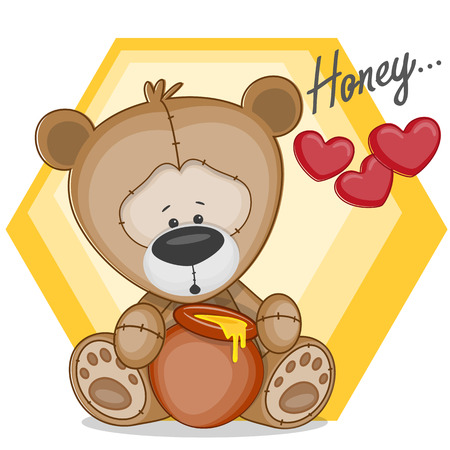 Cute Teddy bear with honey Vector