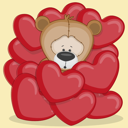 Valentine card with teddy bear in hearts Vector