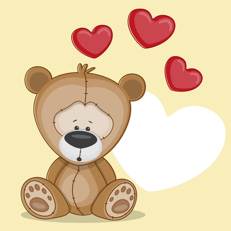 Valentine card with teddy bear with hearts