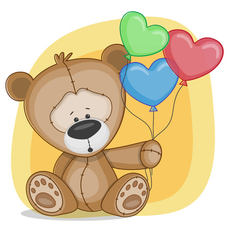 teddy: Greeting card Bear with baloons
