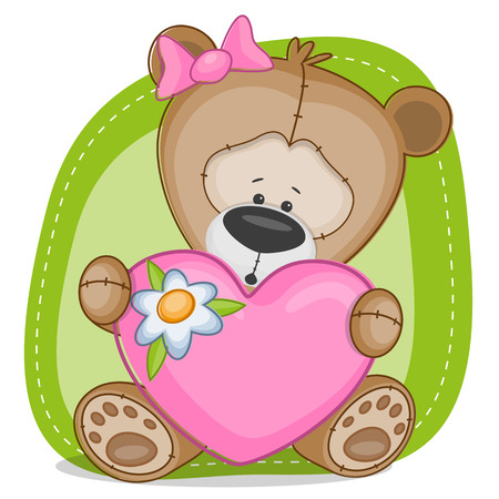 Valentine card with teddy bear girl Vector
