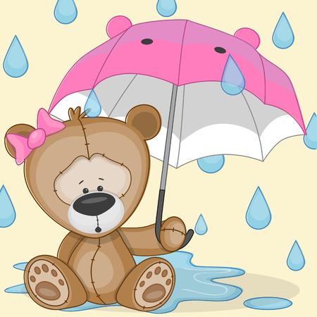 cute animal cartoon: Greeting card Bear with umbrella