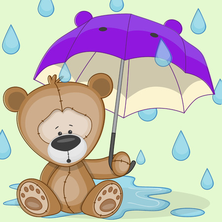 Greeting card Bear with umbrella  Vector