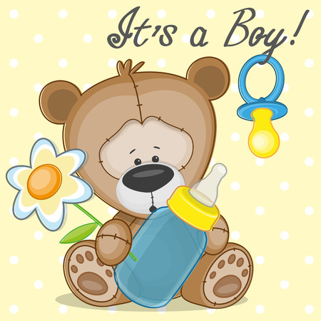 Teddy Bear with feeding bottle Illustration