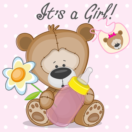 Teddy Bear with feeding bottle Vector