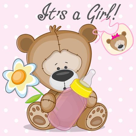 diaper pins: Teddy Bear with feeding bottle Illustration
