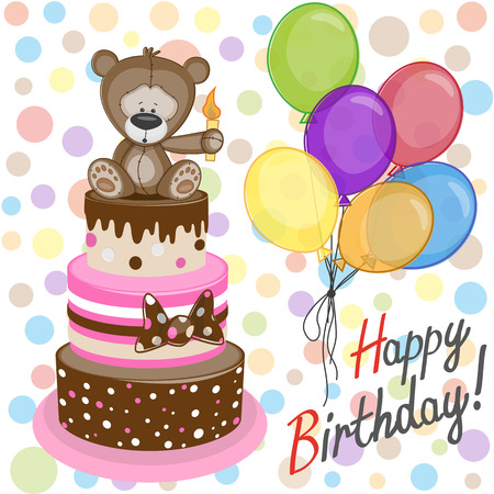 Greeting card Bear with baloons and cake Vector