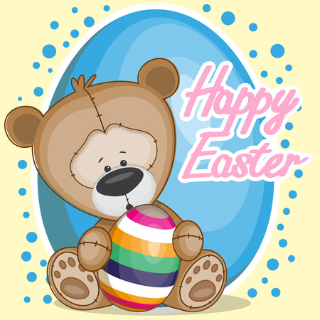 Greeting easter card Bear with egg Vector