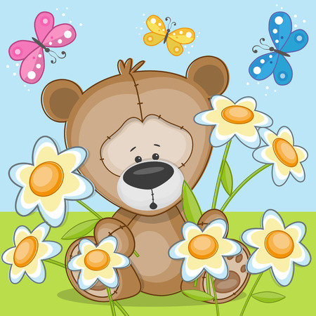 Bear with flowers and butterflies  Vector