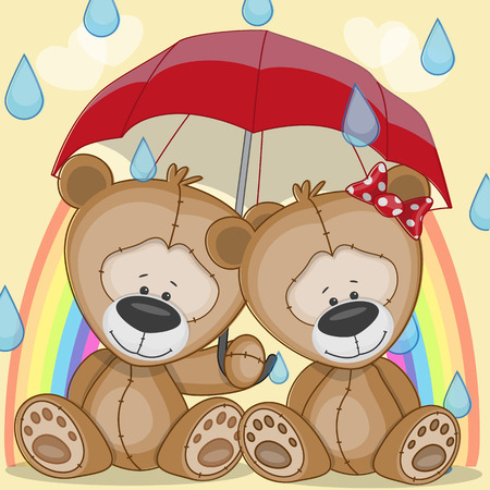 Lovers Bears under red umbrella Vector