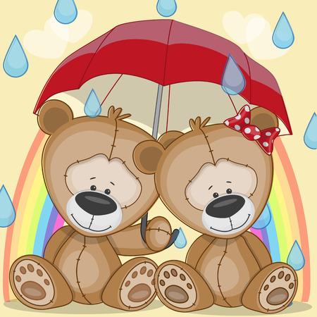 Lovers Bears under red umbrella Vector