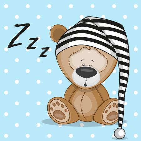 Sleeping bear in a cap Illustration