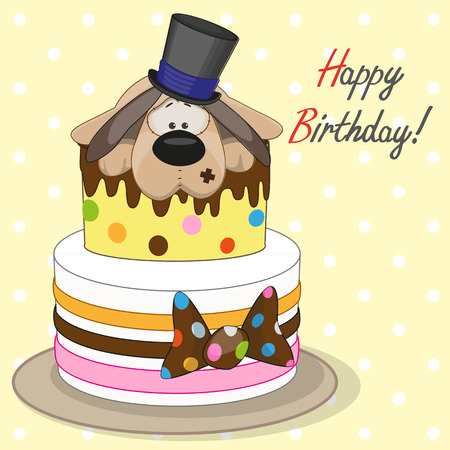 Greeting card Cake with dog Vector