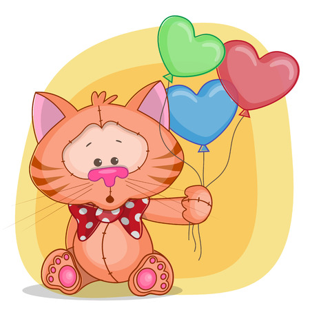 Greeting card cat with baloons Vector