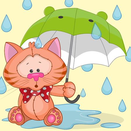 Greeting card cat with umbrella Vector