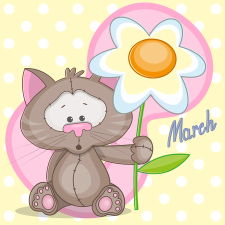Greeting card Cat with flowers Vector