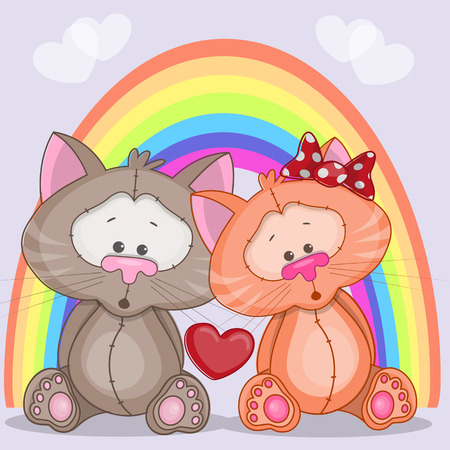 Enamored cats on a background of rainbow Vector