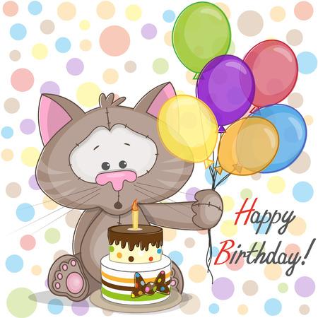 Gato Tarjeta de felicitación con globos y pastel Foto de archivo - 26731242