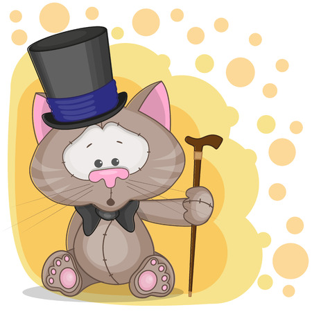 Greeting card Cat in a hat  Vector