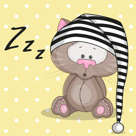 Sleepy cat in a cap Vector