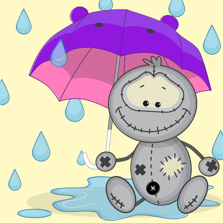 Monster holding umbrella in his hand Vector