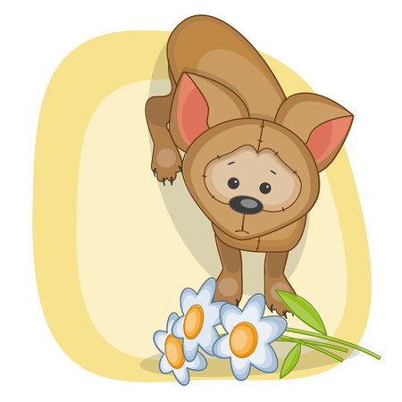 Greeting card dog with flowers Vector