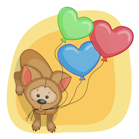 Greeting card puppy with baloons Vector