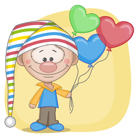 gnome: Gnome and balloons on a yellow background Illustration