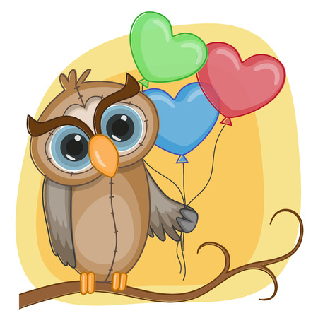Greeting card owl with balloons Vector
