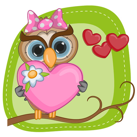 Greeting card with owl girl Vector