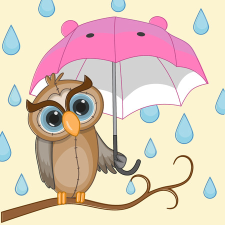 Greeting card Owl with umbrella Vector