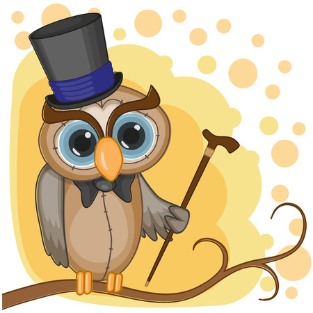 Greeting card Owl in a hat Vector