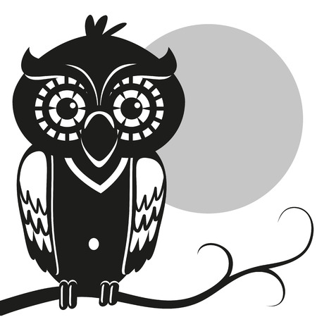 moon  owl  silhouette: Owl is sitting on a branch