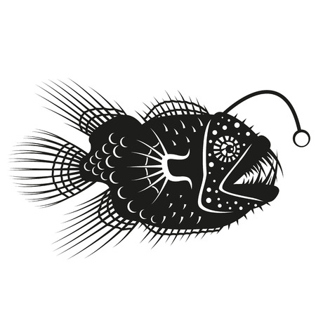 fishing lure: Anglerfish isolated on a white background