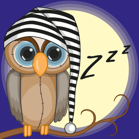 Sleepy owl in a cap Vector