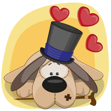 Greeting card Dog with hearts Vector