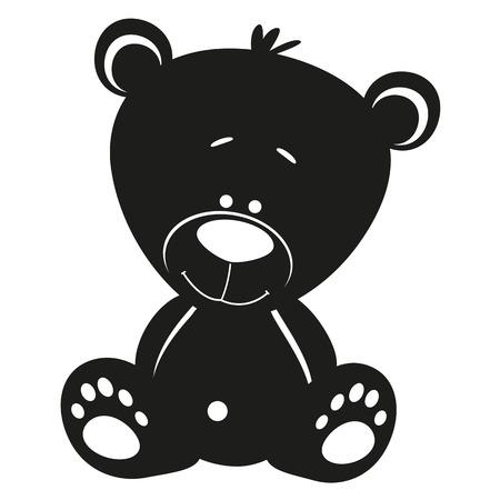 bear silhouette: Silhouette orsacchiotto su sfondo bianco
