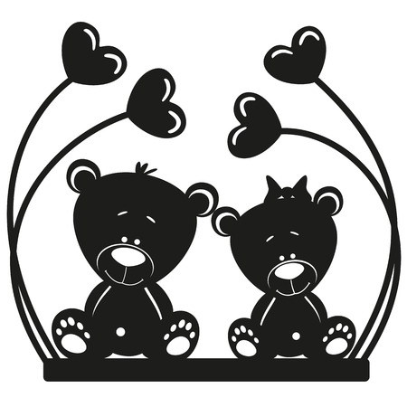 Silhouette two bears on white background Vector