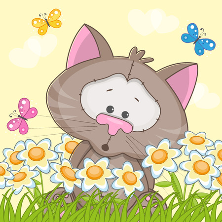 Cat with flowers and butterflies Vector