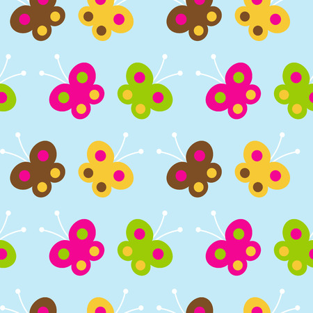 Butterfly seamless pattern on a blue background Vector