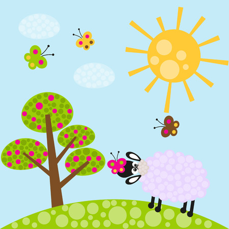 Sheep and butterfly on the meadow Vector