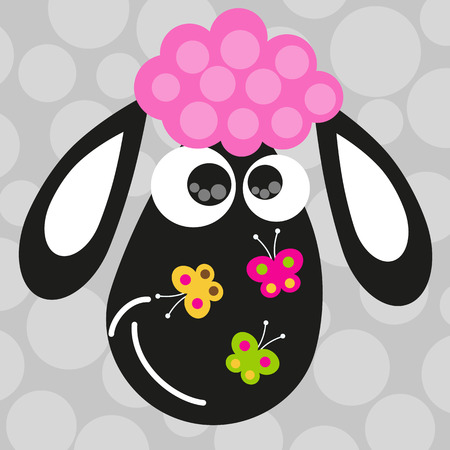 Face of lamb and butterflies Illustration