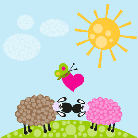 Two sheeps and butterfly on the meadow Vector
