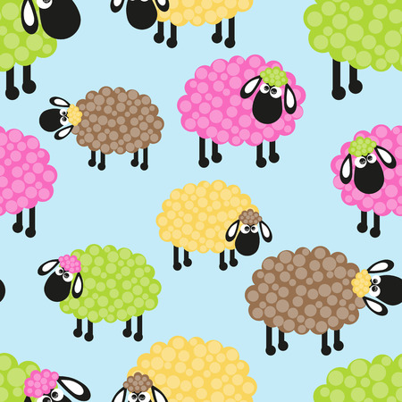bleating: Sheep seamless pattern for your design Illustration