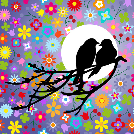couple lit: Two birds is sitting on a branch