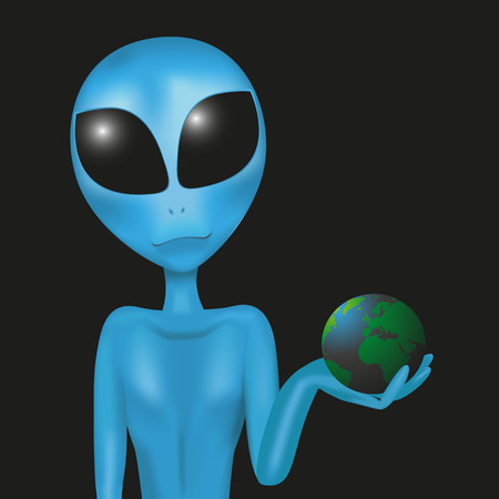 Alien is holding the globe in his hands, isolated on a black background Stock Vector - 26766656