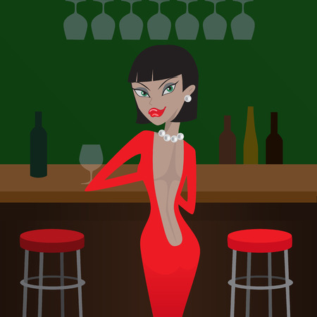 woman in red standing near the bar Vector