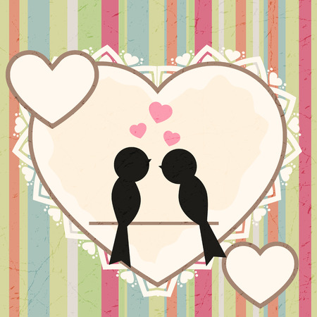 greeting card with birds in love Vector