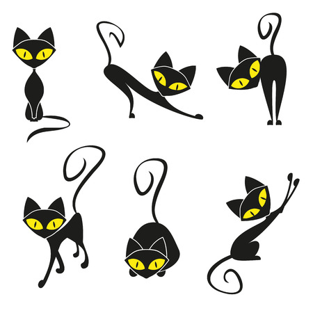 cartoons outline: Black cats, collection for your design
